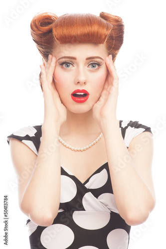 Surprised pin-up woman