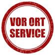 Grunge Stempel rot rund VOR ORT SERVICE