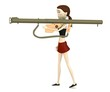 3d render of cartoon character with bazooka