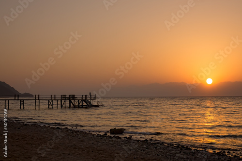 Sunrise over the Red sea egyptian coast