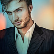 Multicolored digital painted image of elegant young man.
