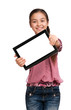 girl shows a screen Digital Tablet