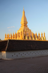 Pha That Luang is a large gold Buddhist stupa in Vientiane, Laos