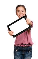 girl shows a screen Digital Tablet