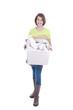 Mädchen entsorgt Altpapier - girl with waste paper