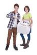 Kinder entsorgen Altpapier- children with waste paper