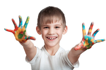 boy happily shows the ink-stained hands