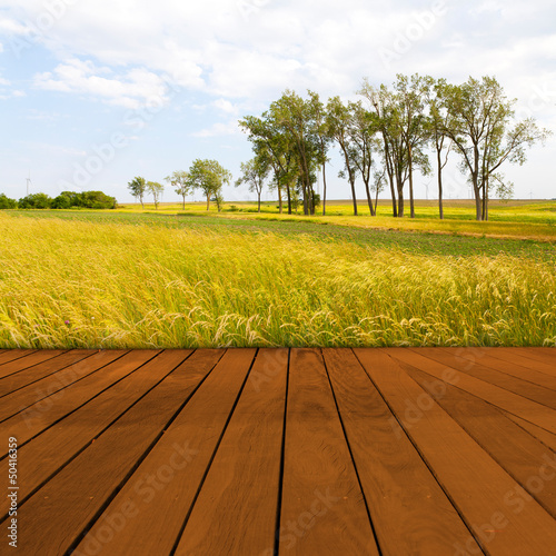 Old Table Surface With Blurred Countryside Landscape