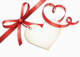 Fototapety Rote Herzschleife mit Herzlabel