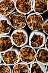 Close up of cigarettes tabacco