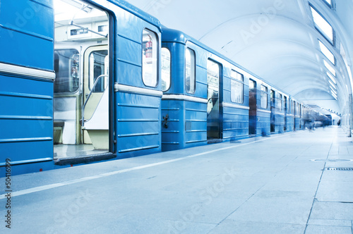 Blue train on subway station - 50416999