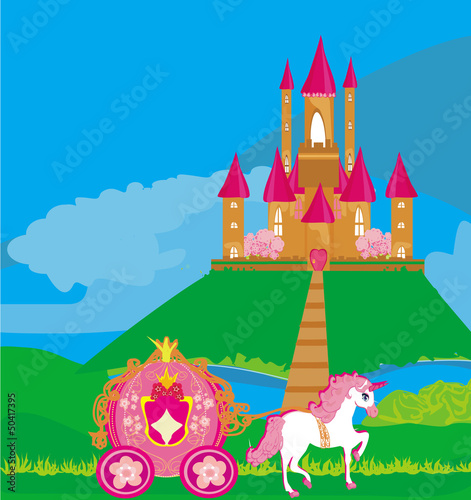 Poster Pony castle and beautiful carriage
