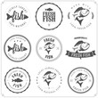 Set of made with fish stamps, labels and badges - 50417574