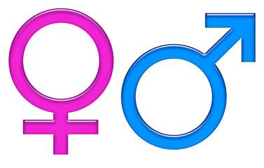 Simboli genere maschio e femmina staccati