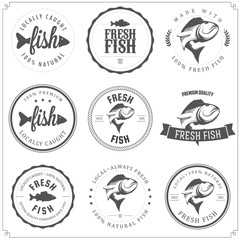 Set of made with fish stamps, labels and badges