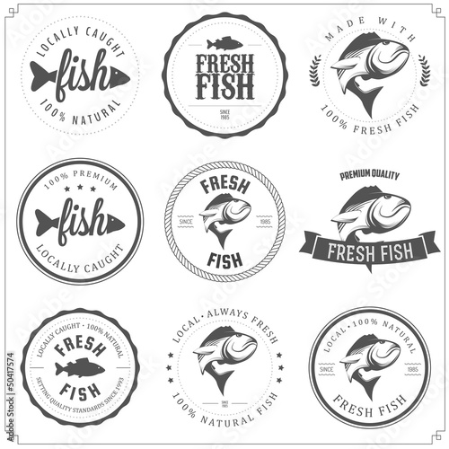 Fototapeta Set of made with fish stamps, labels and badges