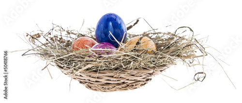 Nest with Easter Eggs on white