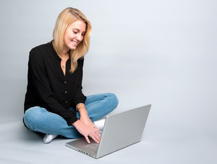 Teenage girl at computer