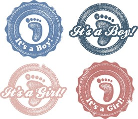 It's a boy or girl newborn baby stamps