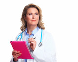 Medical doctor woman with tablet computer.