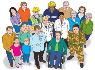 Group of people with various occupations