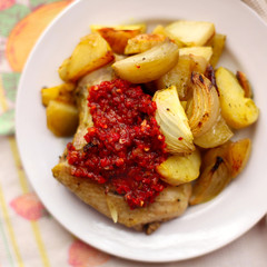 grilled chicken meat with vegetables, potato and onion