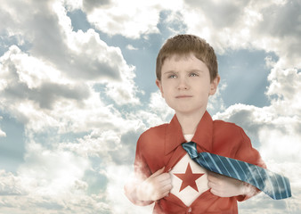 Superhero Boy Child with Open Shirt and Clouds