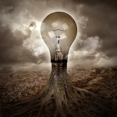 Light Bulb Growing an Idea in Nature