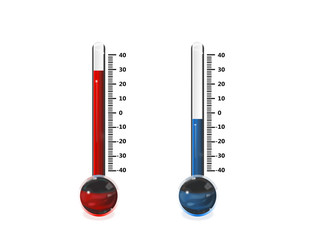 thermometres chaud froid rouge et bleu