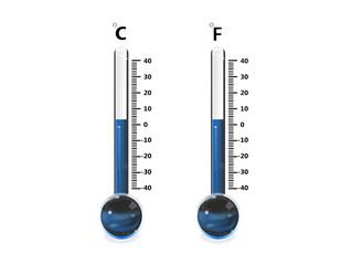 thermometres celsius et fahreneit bleus