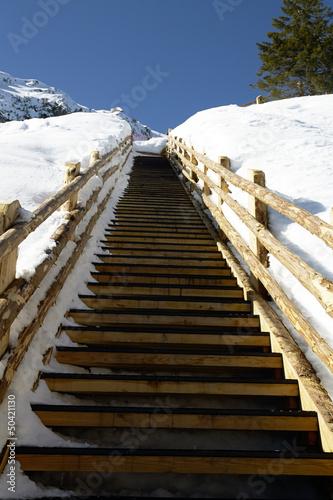 Dolomiti venete,scalinata in alta quota