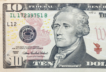 Ten dollar bill fragment