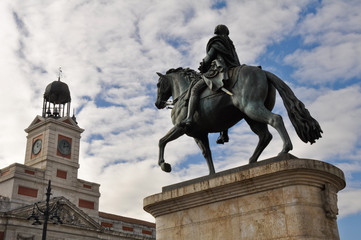 The monument of Charles III at Puerta del Sol, Madrid (Spain)