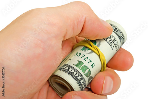 Roll of dollars in a man's hand, isolated.