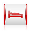 hotel red and white square web glossy icon