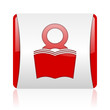 book red and white square web glossy icon