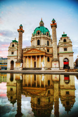 Karlskirche in Vienna, Austria in the morning