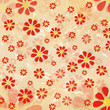 vintage red flowers over old paper background