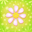 spring pink flower over green background with white flowers