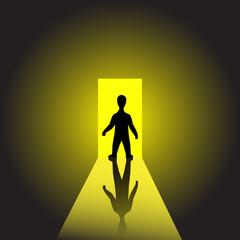 Man on light