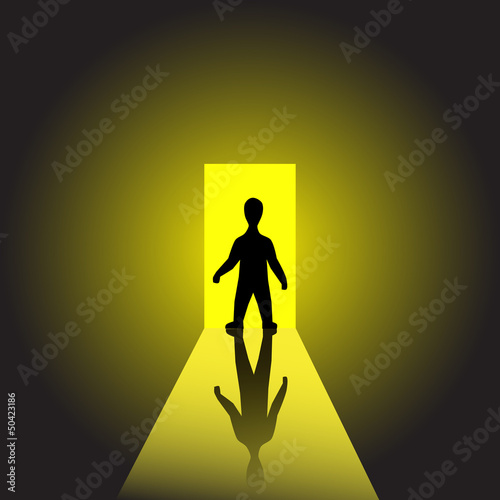 Man on light