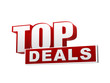 top deals red white banner - letters and block