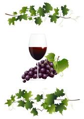 Rotweinglas und Weintrauben