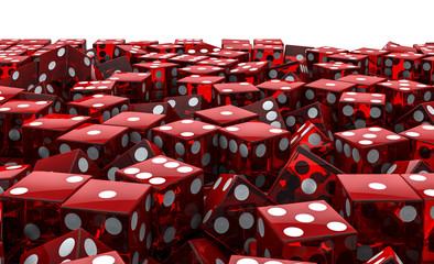Red dice pile