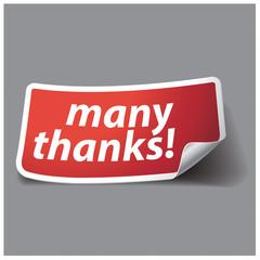 Many thanks - grateful label. Vector.