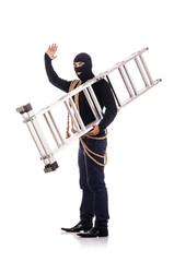 Burglar wearing balaclava isolated on white