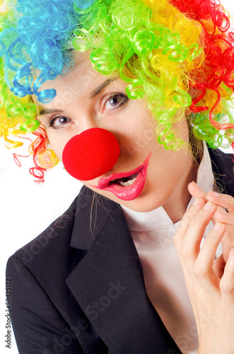Woman clown in business suit