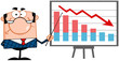 Angry Business Manager With Pointer Presenting A Falling Chart