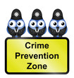 Comical UK crime prevention zone sign