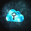 Cloud computing concept: Cloud Whis Key on digital background